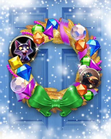Festive Felis Wreath Badge - Bejeweled Stars