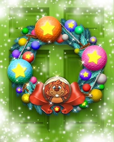 Merry Matty Wreath Badge - Pogo Mini Golf