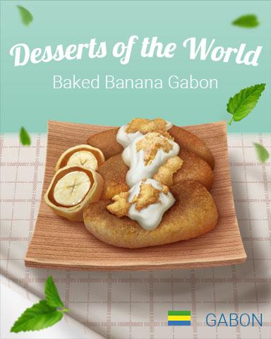 Baked Bananas Gabon World Dessert Badge - Crossword Cove HD