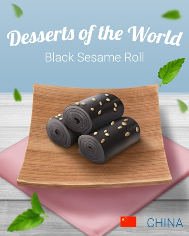 Black Sesame Roll World Dessert Badge - Tri-Peaks Solitaire HD