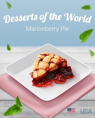 Marionberry Pie World Dessert Badge - StoryQuest