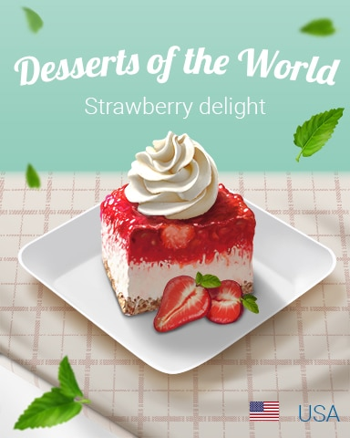 Strawberry Delight World Dessert Badge - Trizzle