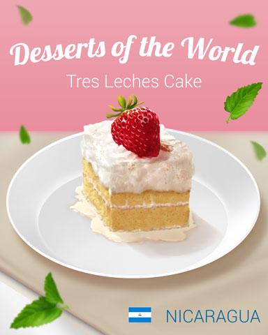 Tres Leches Cake World Dessert Badge - Mahjong Sanctuary