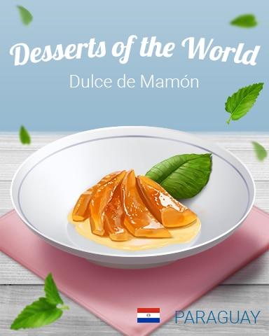 Dulce De Mamón World Dessert Badge - Jet Set Solitaire