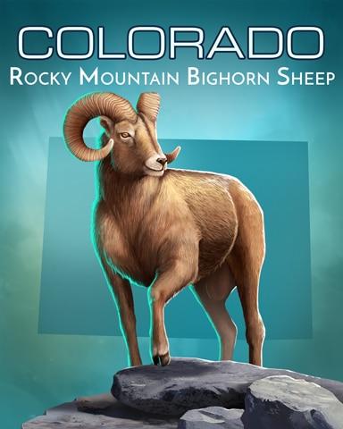 Rocky Mountain Bighorn Sheep Wild America Badge - Mahjong Garden HD