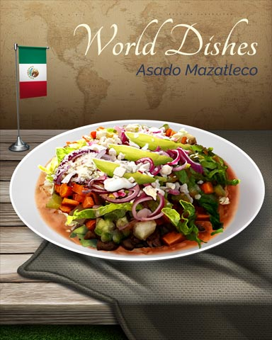 Asado Mazatleco World Dishes Badge - First Class Solitaire HD