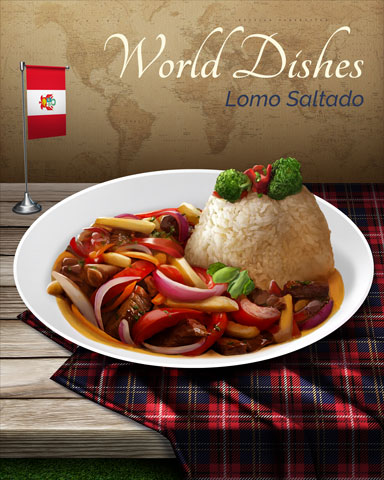 Lomo Saltado World Dishes Badge - First Class Solitaire HD