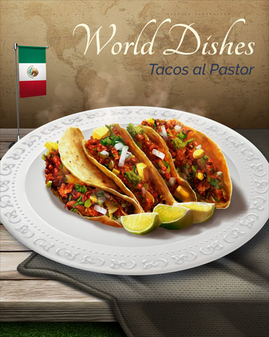 Tacos Al Pastor World Dishes Badge - Dice City Roller HD