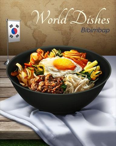 Bibimbap Adana Kebap World Dishes Badge - Word Whomp HD
