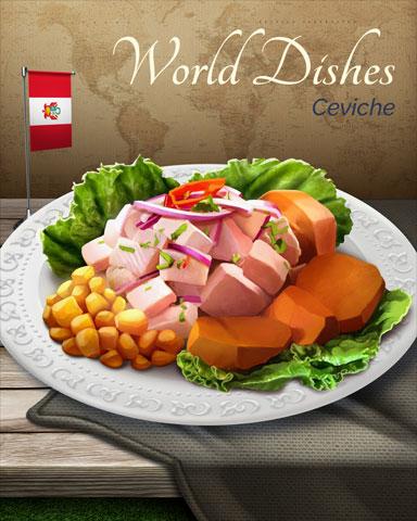 Ceviche World Dishes Badge - Mahjong Garden HD