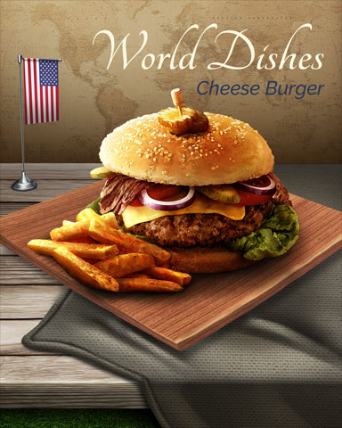 Cheeseburger World Dishes Badge - Rainy Day Spider Solitaire HD