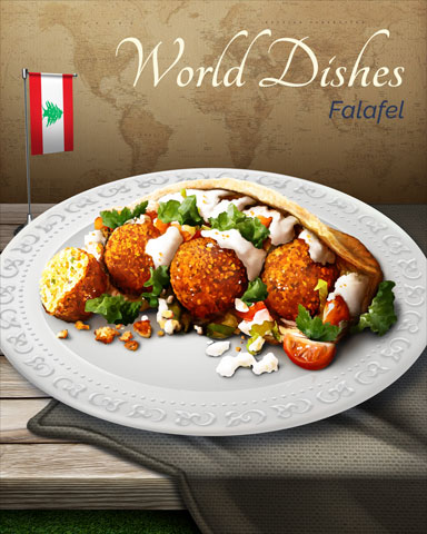 Falafel World Dishes Badge - First Class Solitaire HD
