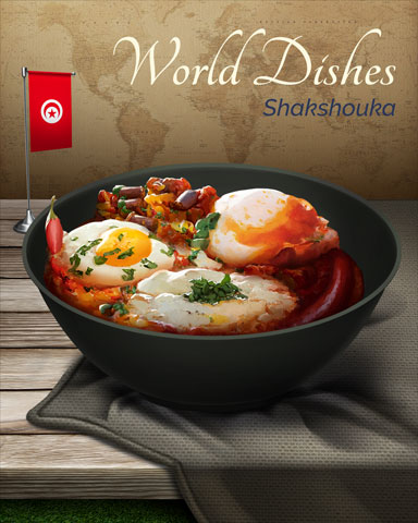 Shakshuka World Dishes Badge - Tri-Peaks Solitaire HD