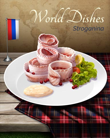 Stroganina World Dishes Badge - Tri-Peaks Solitaire HD