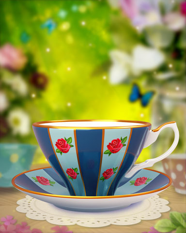 Red Rose Teacup Badge - Claire Hart Classic