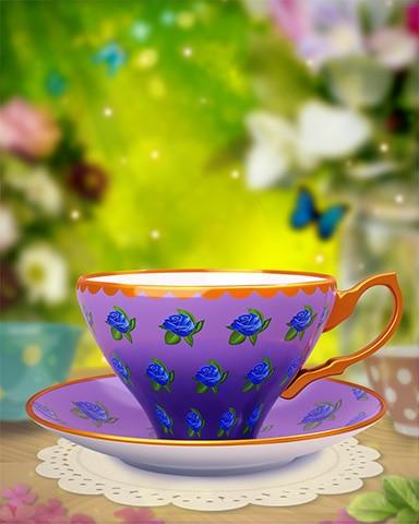 Blue Rose Teacup Badge - StoryQuest