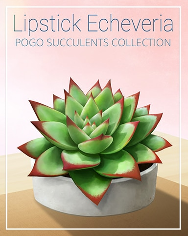 Lipstick Echeveria Succulent Badge - Mahjong Safari HD