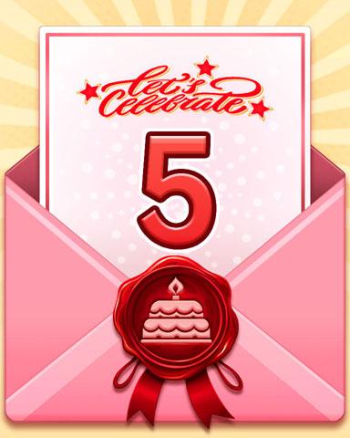 22nd Anniversary 5 Badge - Mahjong Garden HD