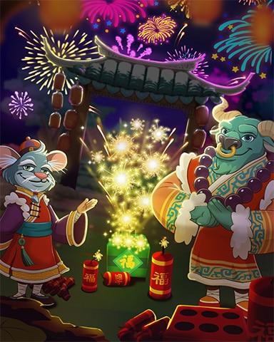Fireworks Celebration Badge - Mahjong Sanctuary