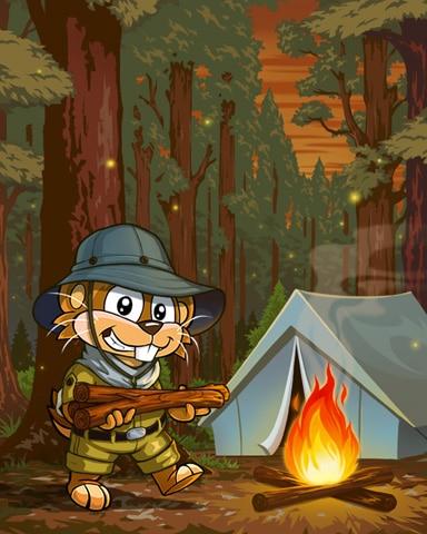 Outdoor Adventure Campfire Badge - Word Whomp HD