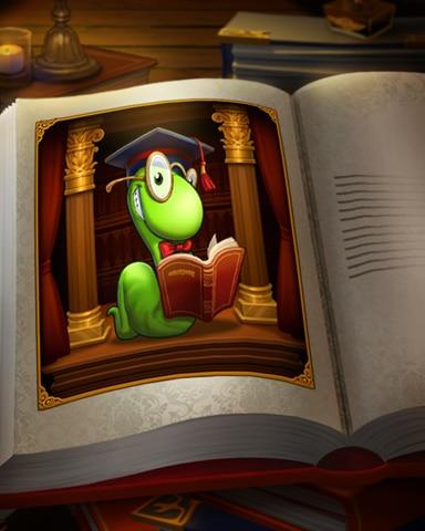 Bookworm In A Book Badge - Bookworm HD