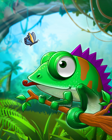 Hungry Chameleon Badge - Jungle Gin HD