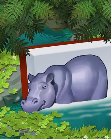 Bathing Hippo Badge - Mahjong Safari HD