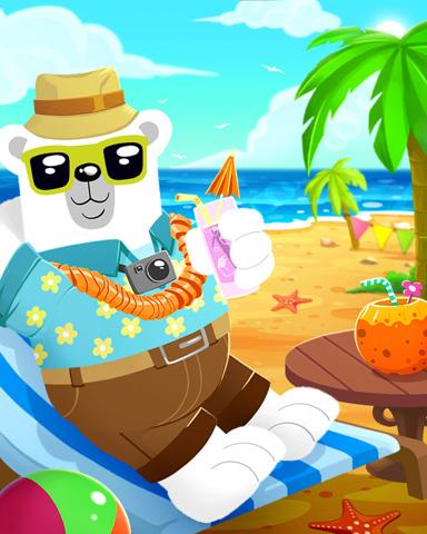 Beach Bum Bear Badge - Snowbird Solitaire