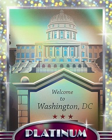 Welcome To Washington D.C. Platinum Badge - Cross Country Adventure