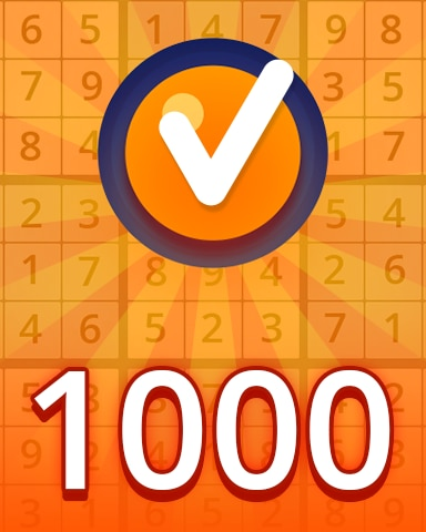 Medium 1000 Badge - Pogo Daily Sudoku